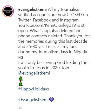"""Jesus In Coming In 2020"" - Kemi Olunloyo Dumps Journalism To Become An Evangelist"