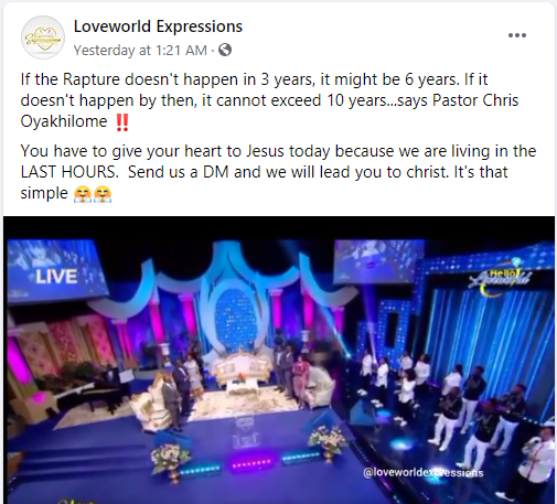 Pastor Chris Oyakhilome Calculates Which Year The Rapture Will Occur