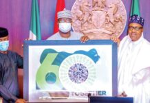 "The logo of Nigeria's 60th independence anniversary celebrations features a picture of a 51-carat Russian Dynasty Diamond. The logo was unveiled on Wednesday by President Muhammadu Buhari in Nigeria's capital city Abuja. Buhari said the government had four designs to select from and that the one selected was ""a product of choice from the Nigerian people."" ""I'm informed that the selected option depicts our togetherness; a country of over 200 million people, whose natural talents, grits and passion glitter like the precious diamond we are,"" President Buhari said shortly before unveiling the logo. ""This to me is a sufficient appreciation to our most precious assets; our people. Everywhere you go, Nigerians are sparkling like diamonds in the pack, whether in academia, business, Innovation, music, movie, entertainment and culture."" The logo has a white background with figure 60 superimposed on a green map of Nigeria. ""Together"" is written in all caps below the 60 to the right. At the centre of the '0' in 60 is the picture of the Dynasty diamond which was unveiled in August 2017 by Russian government-owned Alrosa. ""The Dynasty is the largest polished diamond with the best clarity characteristics throughout the Russian jewelry history,"" Alrosa said on its website. The 51.38 diamond is a part of a collection also called Dynasty. The collection includes the Sheremetevs, a 16.67-carat round brilliant-cut diamond; the Orlovs, a 5.05-carat oval diamond; ""The Vorontsovs,"" a 1.73-carat pear-cut diamond and the Yusupovs, a 1.39-carat diamond. They were all cut from a 179-carat rough diamond named ""Romanovs,"" which was recovered from a diamond mine in the Republic of Sakha in northeast Russia in 2015."