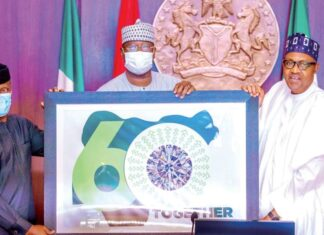 """The logo of Nigeria's 60th independence anniversary celebrations features a picture of a 51-carat Russian Dynasty Diamond. The logo was unveiled on Wednesday by President Muhammadu Buhari in Nigeria's capital city Abuja. Buhari said the government had four designs to select from and that the one selected was """"a product of choice from the Nigerian people."""" """"I'm informed that the selected option depicts our togetherness; a country of over 200 million people, whose natural talents, grits and passion glitter like the precious diamond we are,"""" President Buhari said shortly before unveiling the logo. """"This to me is a sufficient appreciation to our most precious assets; our people. Everywhere you go, Nigerians are sparkling like diamonds in the pack, whether in academia, business, Innovation, music, movie, entertainment and culture."""" The logo has a white background with figure 60 superimposed on a green map of Nigeria. """"Together"""" is written in all caps below the 60 to the right. At the centre of the '0' in 60 is the picture of the Dynasty diamond which was unveiled in August 2017 by Russian government-owned Alrosa. """"The Dynasty is the largest polished diamond with the best clarity characteristics throughout the Russian jewelry history,"""" Alrosa said on its website. The 51.38 diamond is a part of a collection also called Dynasty. The collection includes the Sheremetevs, a 16.67-carat round brilliant-cut diamond; the Orlovs, a 5.05-carat oval diamond; """"The Vorontsovs,"""" a 1.73-carat pear-cut diamond and the Yusupovs, a 1.39-carat diamond. They were all cut from a 179-carat rough diamond named """"Romanovs,"""" which was recovered from a diamond mine in the Republic of Sakha in northeast Russia in 2015."""